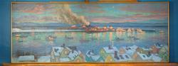 Maleri av Ivar Sælø. Utsikt over Vadsø