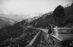 """""""April 1972"""".Frå toppen av Gråura etter at vegen er utvida."""