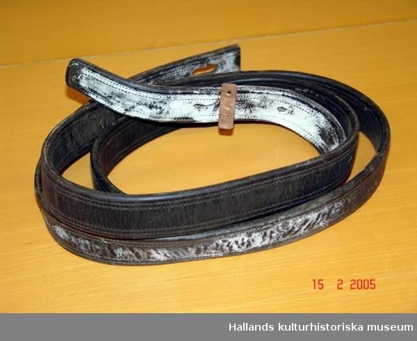 Seldon av typen halvkollersele. a) Halvkoller av svart läder med stoppning. Längd 66,5 cm. b) Draglina av svart läder. Längd 212 cm. c) Draglina av svart läder. Längd 186 cm. d) Selbåge av svart läder med två stycken tömlöpare samt krok däremellan, av järn. Längd 216 cm. e) Svansrem av svart läder. Linbärare med genombrutet svart läderarbete. Längd ( svansrem) 112,5 cm. Längd (linbärare) 14 9,5 cm. f) Tornister av juteväv och läder. Mått: 68x34 cm.