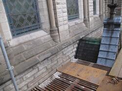 Renoveringsarbeten av tornfasader på Olaus Petri kyrka (Olau