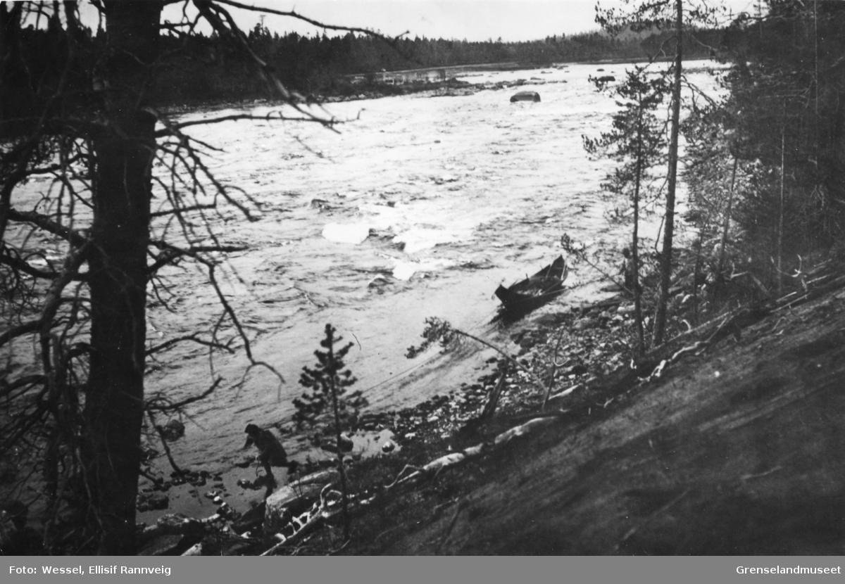 Elvebåt trekkes oppover og forbi strykene i Grensefossen, Pasvikelven.