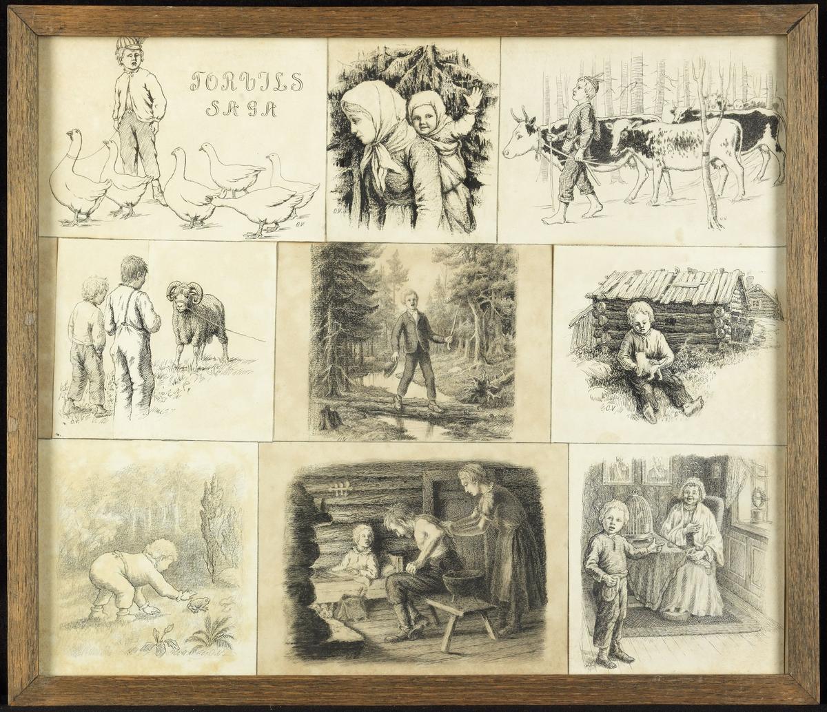Ned.f.v. liten gutt og padde, (blyant og tusj); interiør m. kv. som steller m. sittende mann, gutt ; interiør m. gutt og sittende gammelkv., fuglebur; 2.rekke f.v. 2 gutter, vær; gutt på klopp i skogen; sittende liten gutt m. katt; øv.f.v. gutt m. gjess; ung kvinne m. barn på ryggen; gutt m. kuer