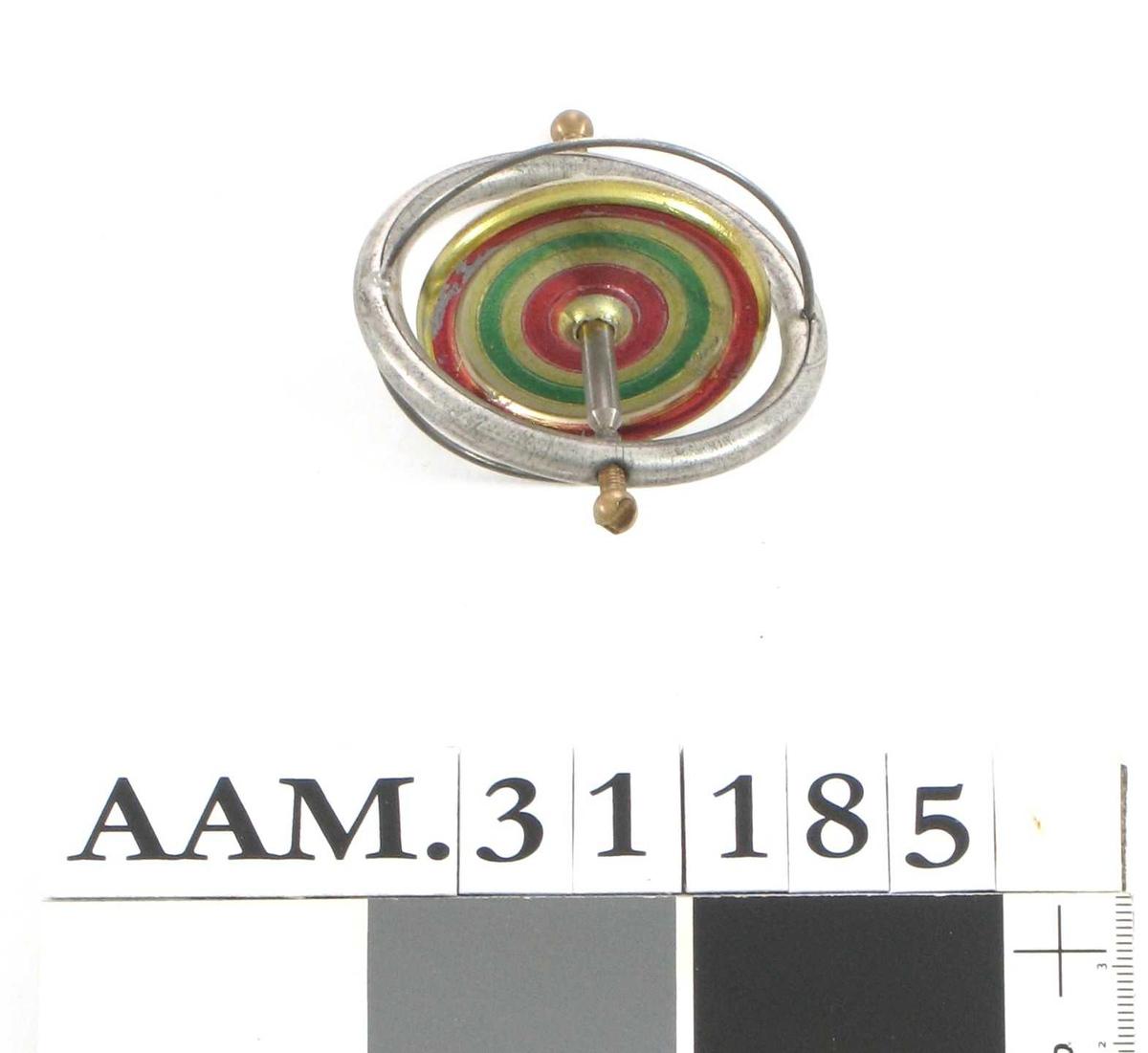 A = figur av Eiffeltårnet, dette fungere som stativ for:  B = gyroskopsnurrebass; ring med sirkelformet plate på tvers inni.