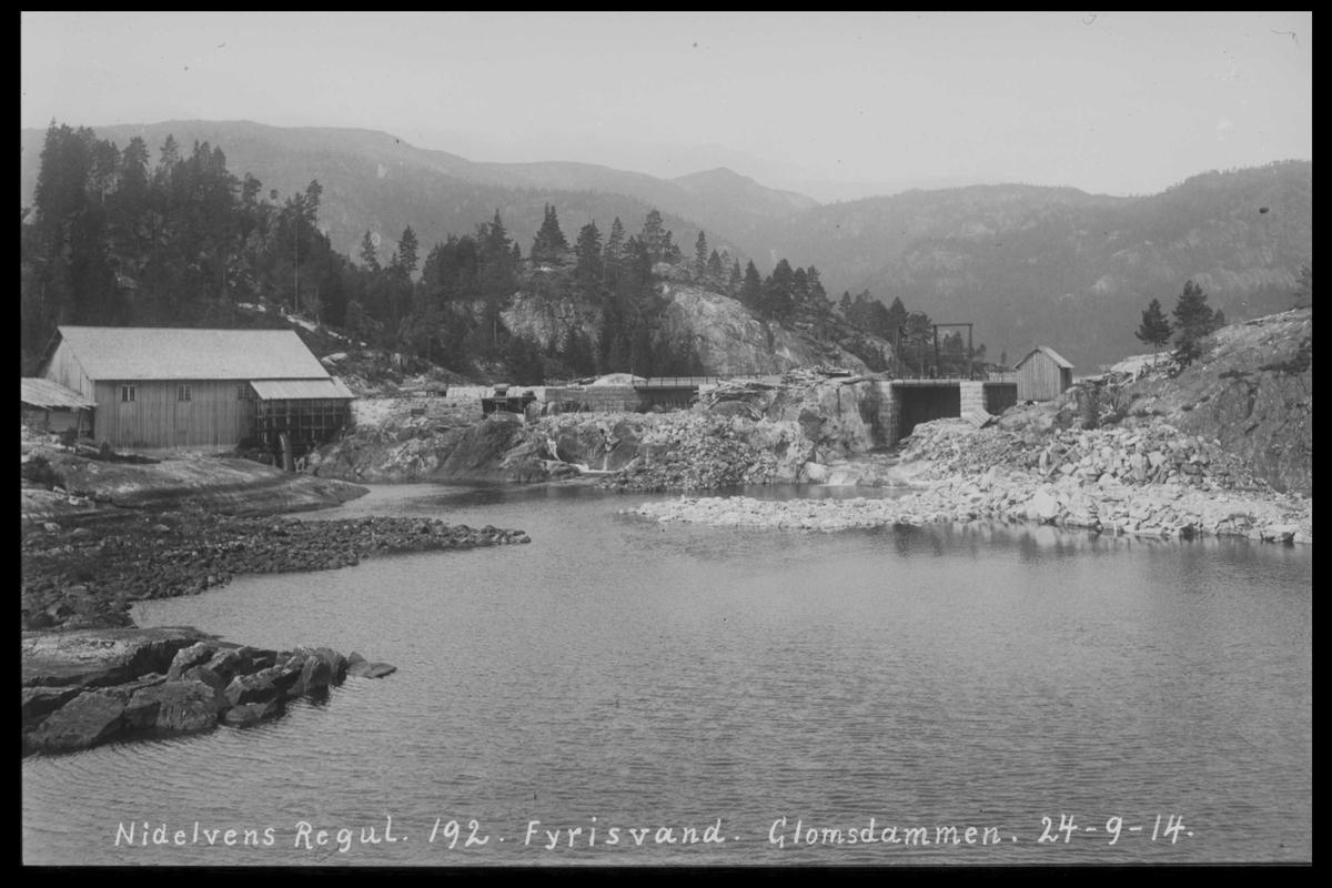 Arendal Fossekompani i begynnelsen av 1900-tallet CD merket 0446, Bilde: 26 Sted: Glomsdammen Beskrivelse: Regulering