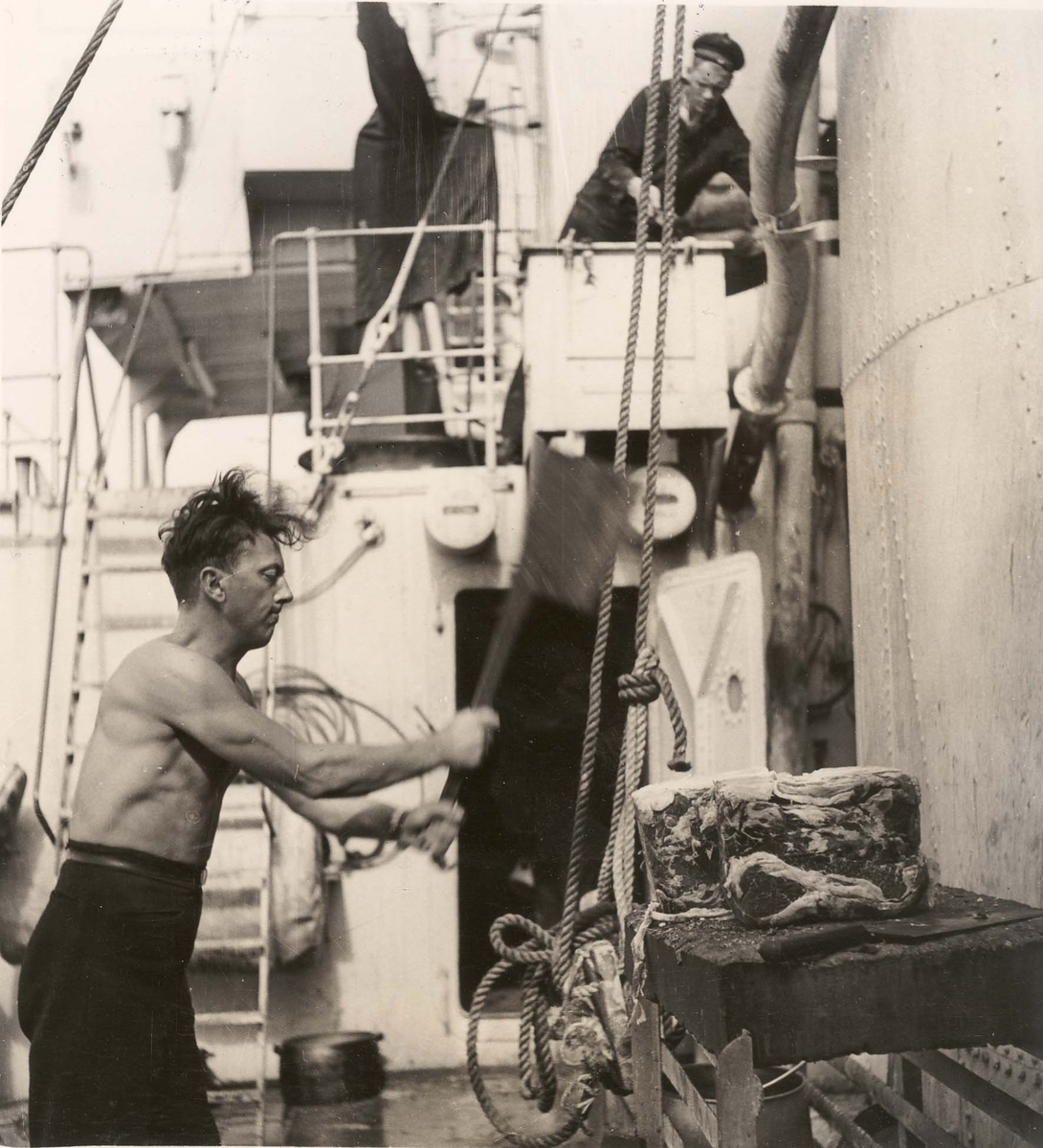 """Jageren  """"Glaisdale"""" , livet om bord under 2. VK. Et godt måltid under forberedelse"""