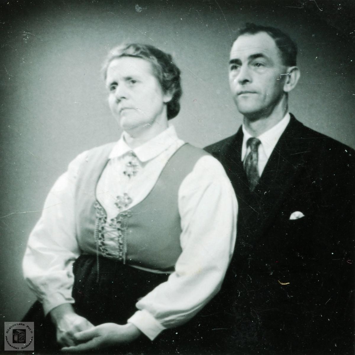 Portrett av Gri og Tobias Hårtveit. Grindheim Audnedal.