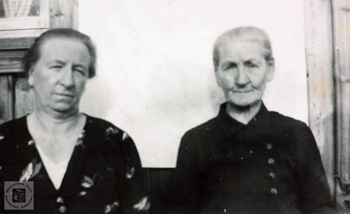 Portrett av Kristi Kollumtveit og Anna Sveindal. Grindheim Audnedal.