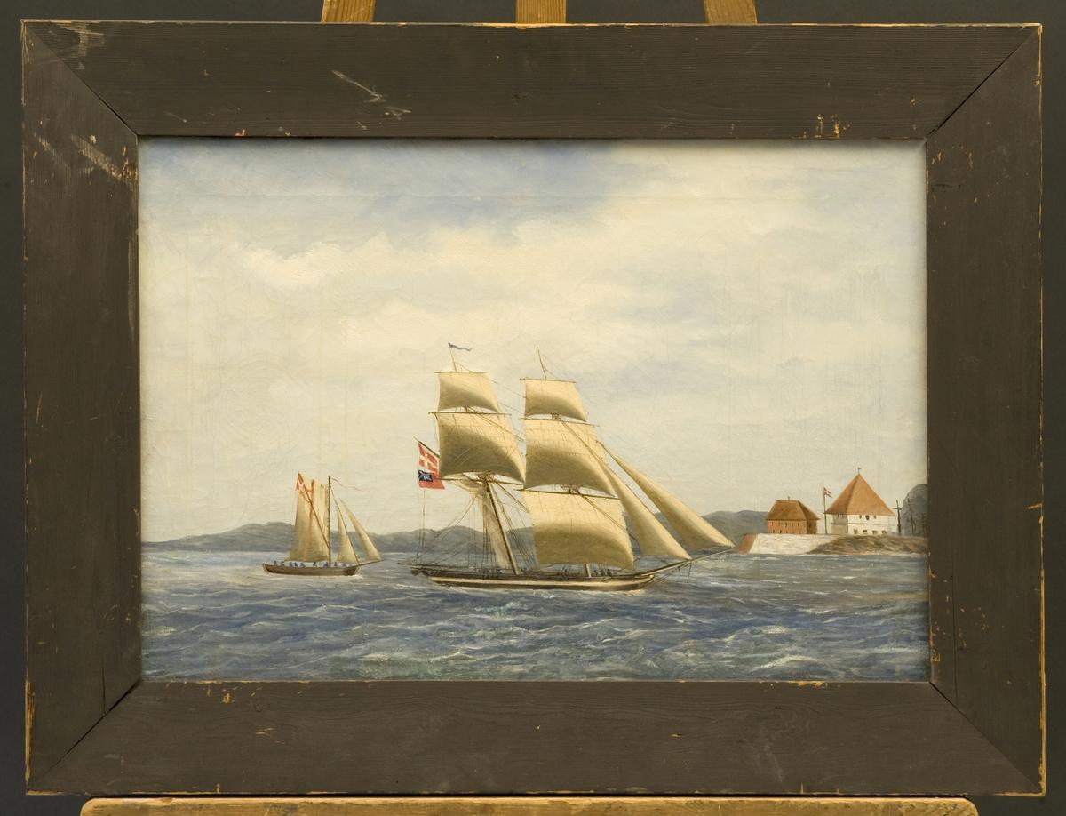 Kapret engelsk brigg og mindre dansk-norsk fartøy under innseiling til Fredriksvern