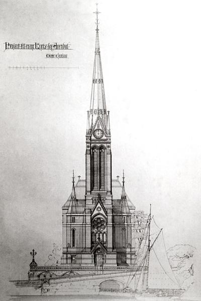 Trefoldighetskirken. Tegning fra 1884.