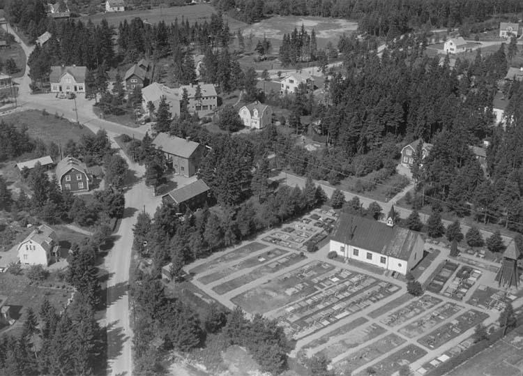 Flygfoto över Mullhyttemo.Bilden tagen vykort.