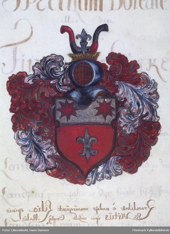 Lilienskiolds våpenskjold, røde stjerner på sølvbunn, sølvfarget lilje på rød bunn. Lilienskiolds valgspråk var 'Non mihi sed popolo' oversatt 'Ikke for meg, men for folket'. I adelig sammenheng var han en oppkomling