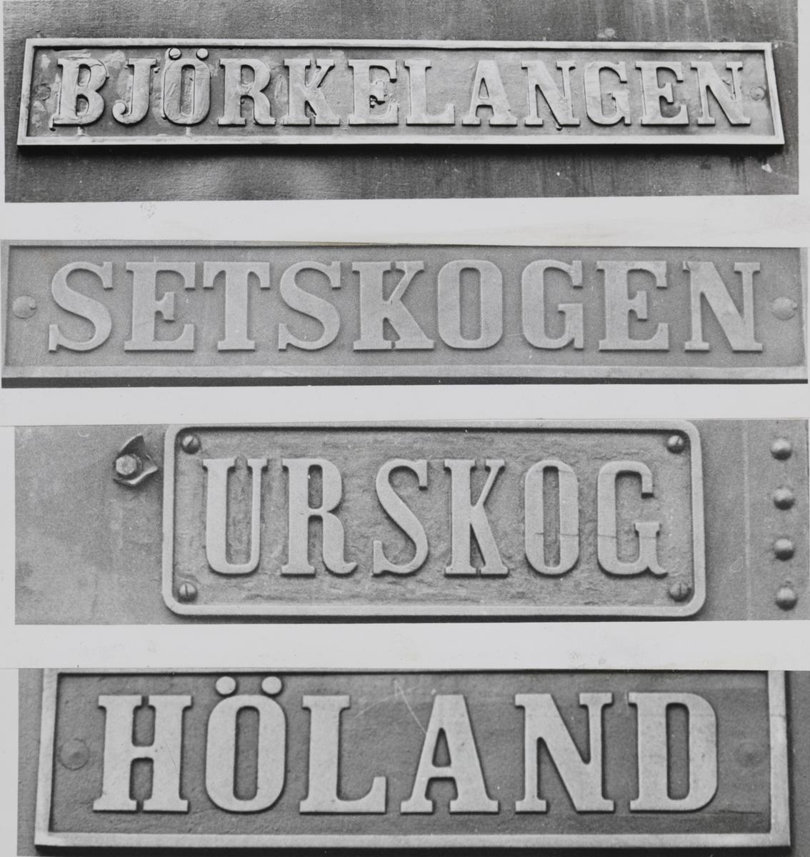 Fotomontasje av navneskiltene til fire av Urskog-Hølandsbanens damplokomotiver.