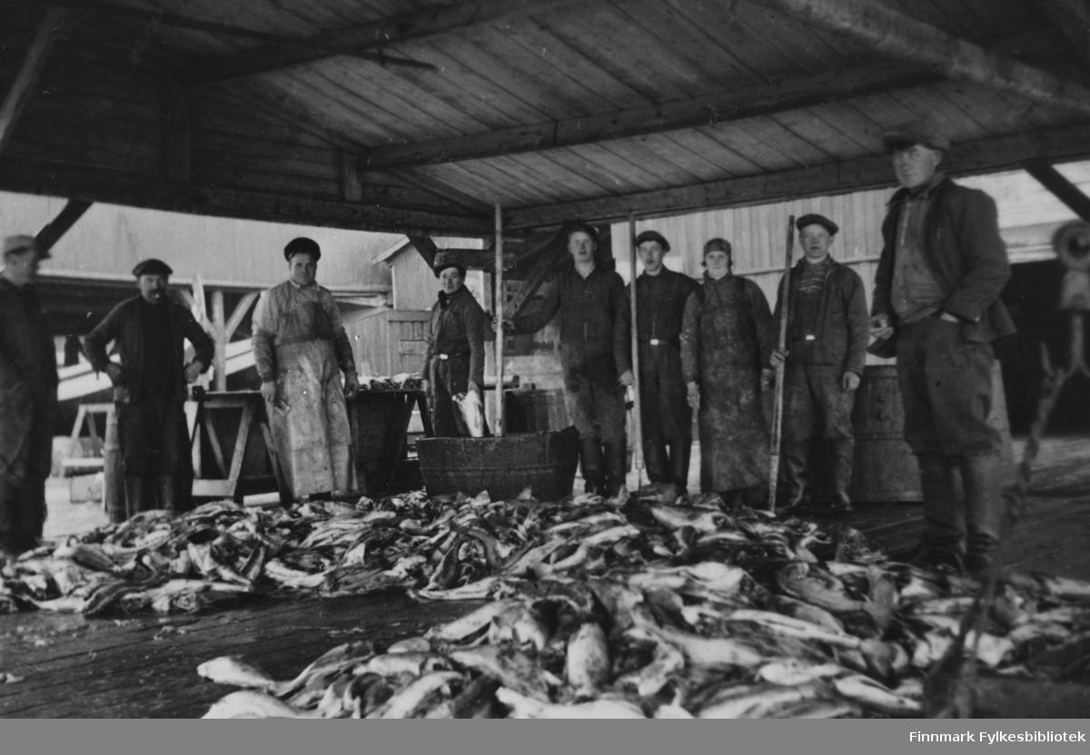 Fra v.: ukjent, Oskar Mathisen, - Kjølnes, Olaf M. Jensen, Marenius (mannen) Larsen, Arne Johnsen, Agnes Hansen, Frantz Eskola, Harald Hansen. Fotografert på Moe-bruket i Kiberg 1935/40.
