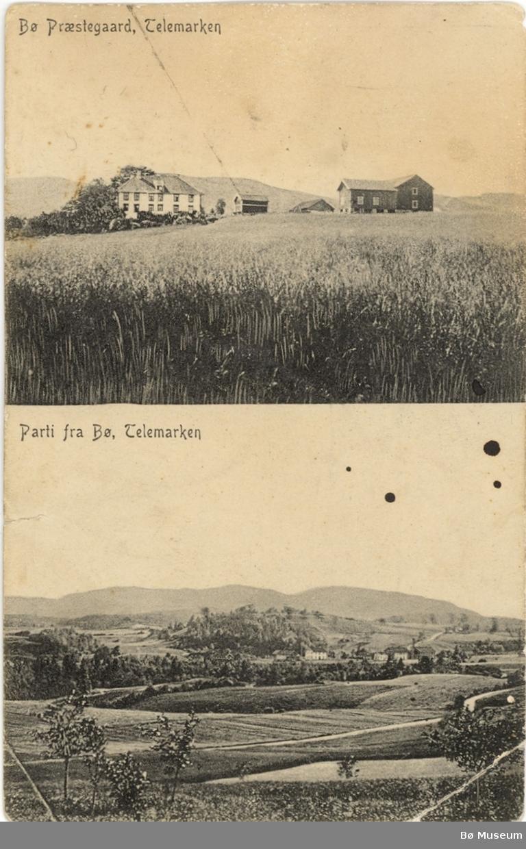 Todelt postkort, Bø prestegard og Bø sentrum