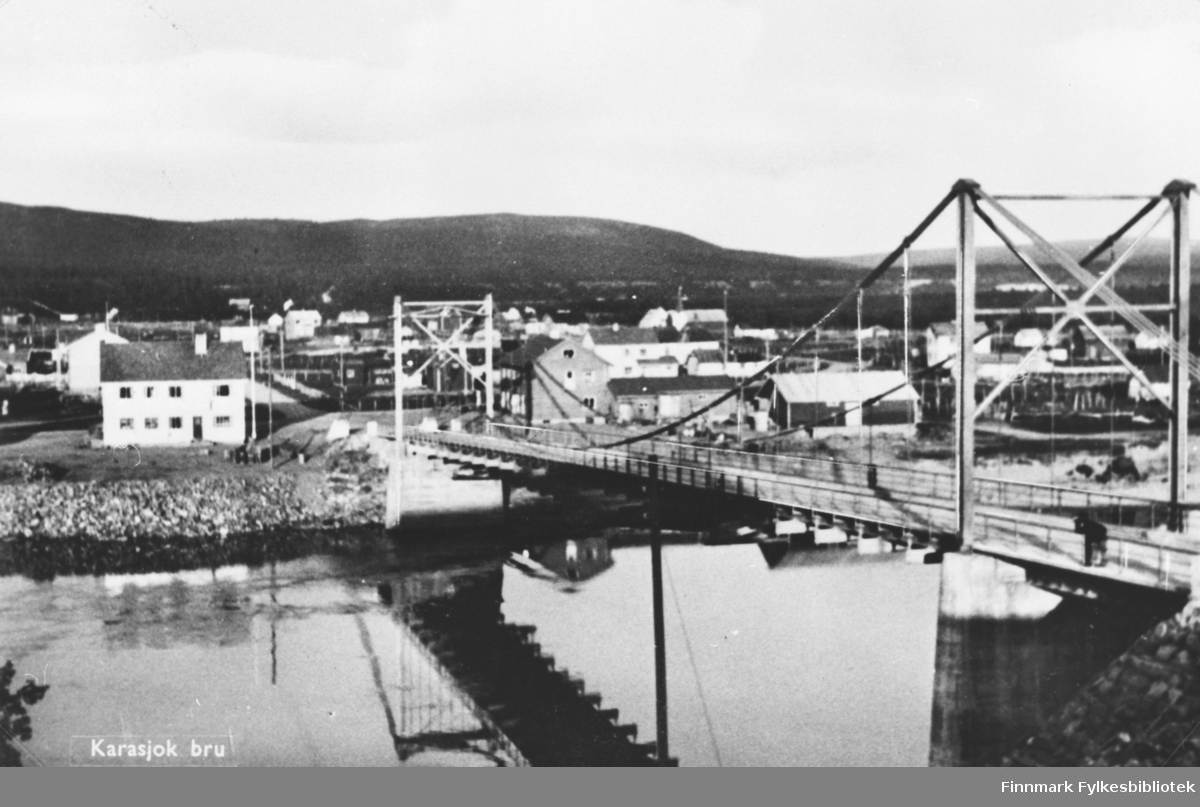 Postkort: Karasjok bru, antakelig 1950-tallet. B 5718