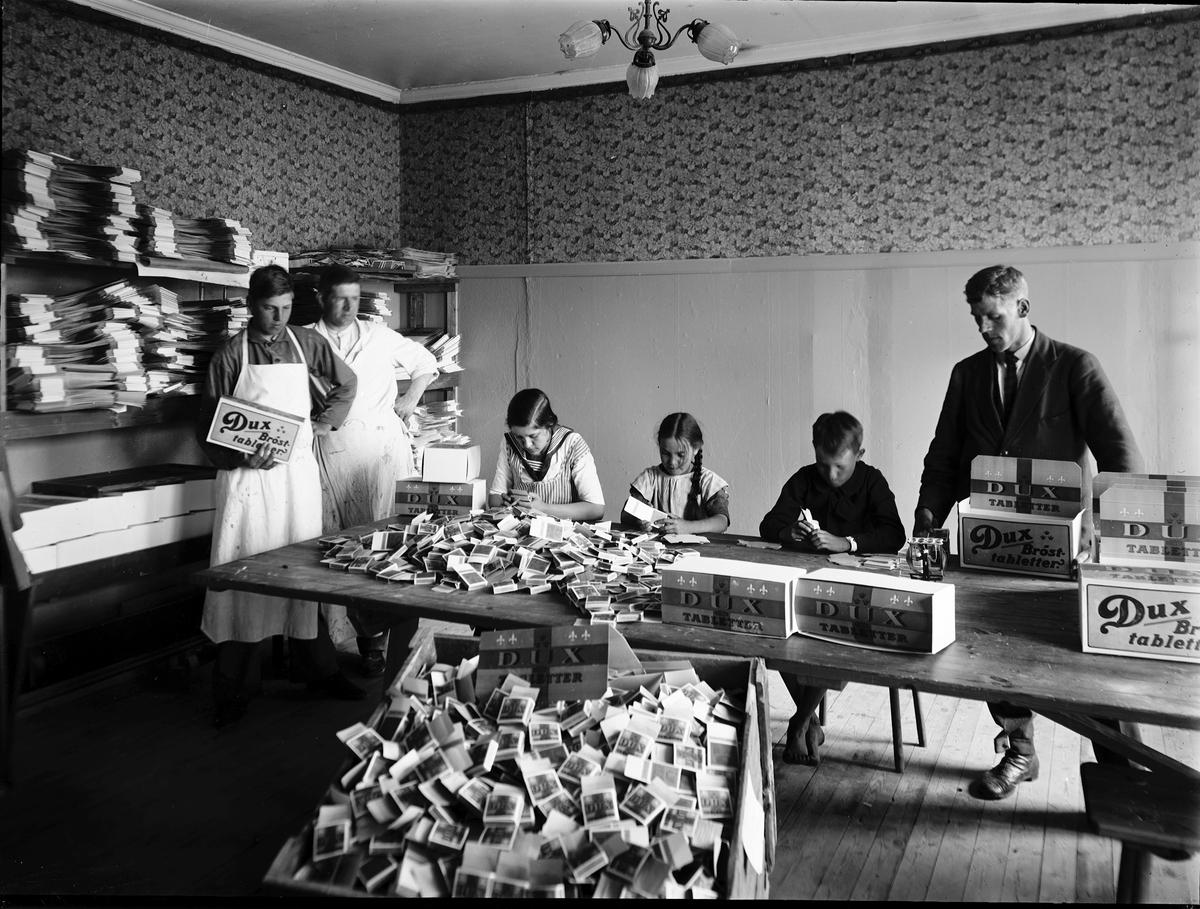 Under 1800-talet var barnarbete vanligt i Sverige. Barnen var billig arbetskraft. Deras lön var liten. Den skulle inte räckt till att försörja dem själva. Deras uppgifter var enkla men monotona, det var lättare att motivera barn än vuxna till arbetet. Här viker barn vid DUX karamellfabrik askar för brösttabletter. Under 1900-talet blev barnarbete ovanligare i takt med att fabrikerna mekaniserades. De enkla momenten försvann, en barn- och ungdoms- arbetslöshet uppstod. Samtidigt stiftades lagar för att reglera barnarbete. Dux-fabriken hade sitt ursprung i Srömsbro av Gustav Ferngren i början av 1900-talet. Flyttade på 1920-talet till Hamntorget och sedan till Tredje Tvärgatan 23 på Brynäs. Firman hade upphört 1930. Tidigare publicerad vid utställningen  år 2000.