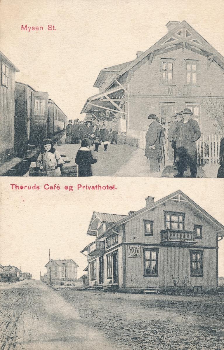 Todelt postkort fra Mysen. Jernbanestasjonen øverst,, Theruds cafe og privathotell nederst.