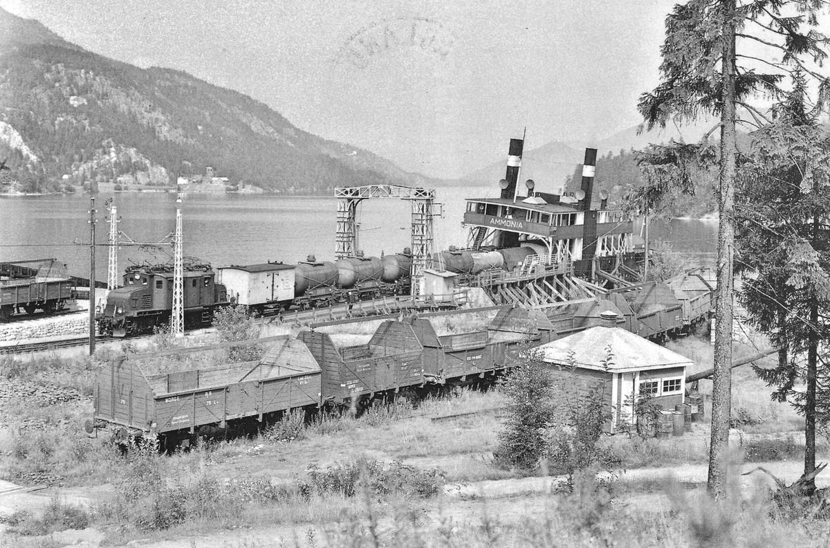 DF Ammonia ved Tinnoset jernbanestasjon.  Tankvogner skiftes med NSB el.lok. El 1.
