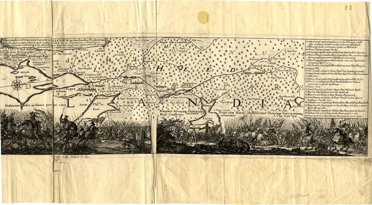 Kopparstick. Karta över Bråvalla hed med förklaringar på latin (och svenska). Blad ur Suecia Antiqua et Hodierna.