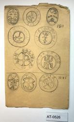 Studie av segl (signet-avtrykk) med bumerker fra 1500- og 16