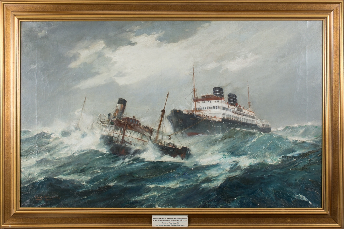 Maleri av mannskapet på MS VENUS som redder besetningen på DS TRYM som forliste i Nordsjøen 20. januar 1937.