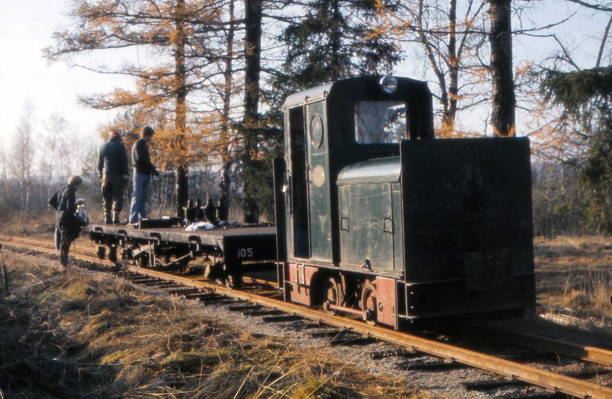 Diesellokomotiv Tinfos med arbeidstog ved Fjeldvang. Urskog-Hølandsbanen, Tertitten.