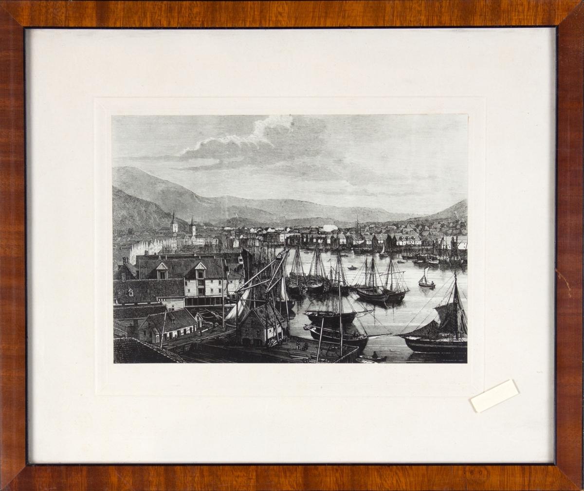 Vågen i Bergen sett fra Bradbenken og innover.