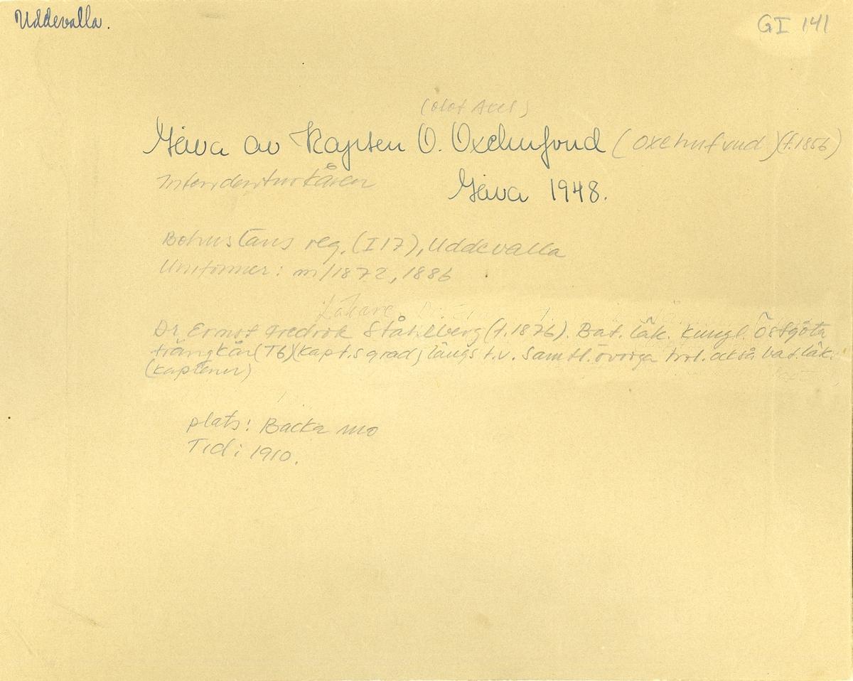 Grupporträtt av officerare, troligen bataljonsläkare på Backamo 1910.