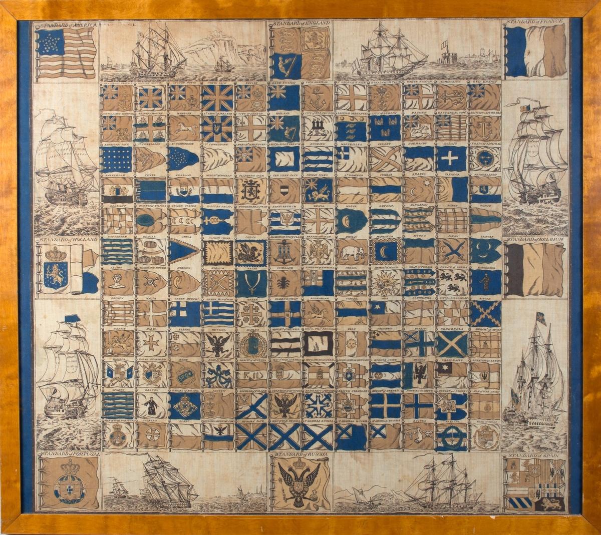 Flaggkart. I øvre hjørne til venstre det amerikanske flagget med tretten striper og 25 stjerner (1836). Ulike orlogsskip med åpne kanonporter som illustrasjoner langs sidene. Ulike nasjonalflagg, orlogsflagg og krigsskipflagg.