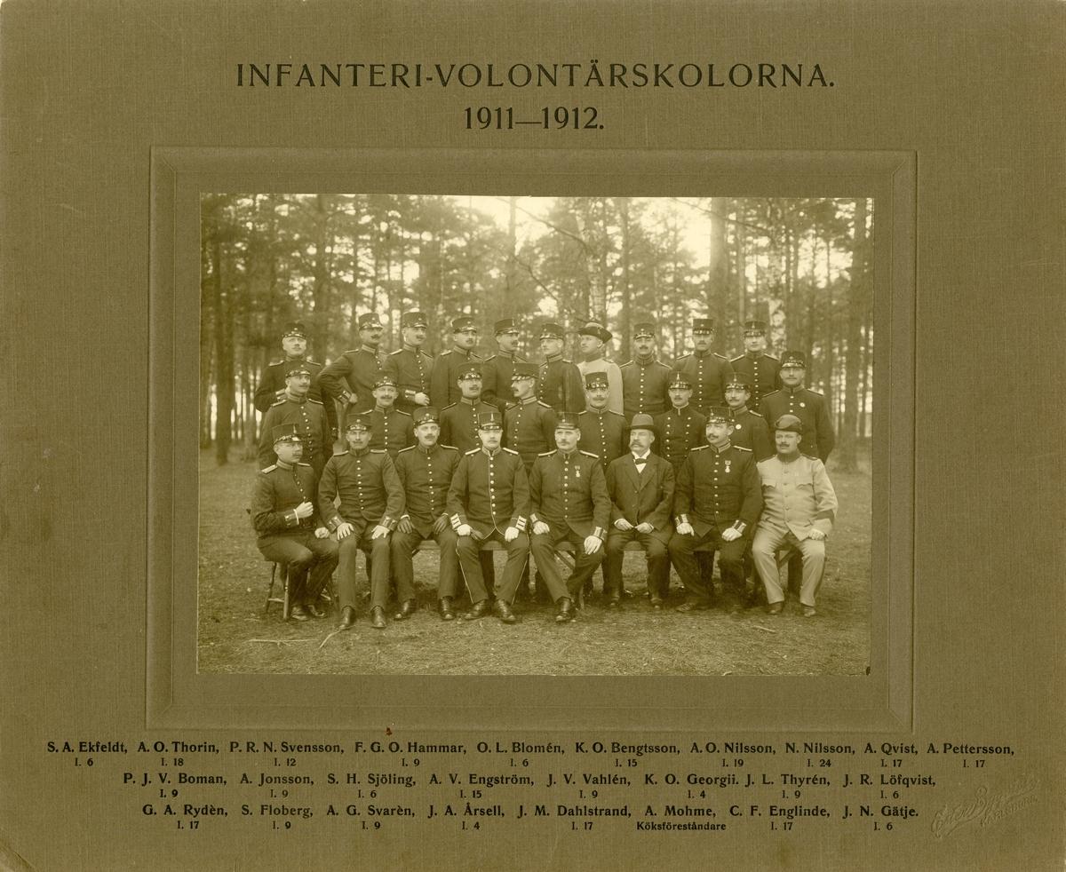 Infanterivolontärskolorna 1911-1912. För namn, se bild nr. 2.