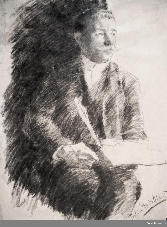 portrett, mann, sittende knebilde