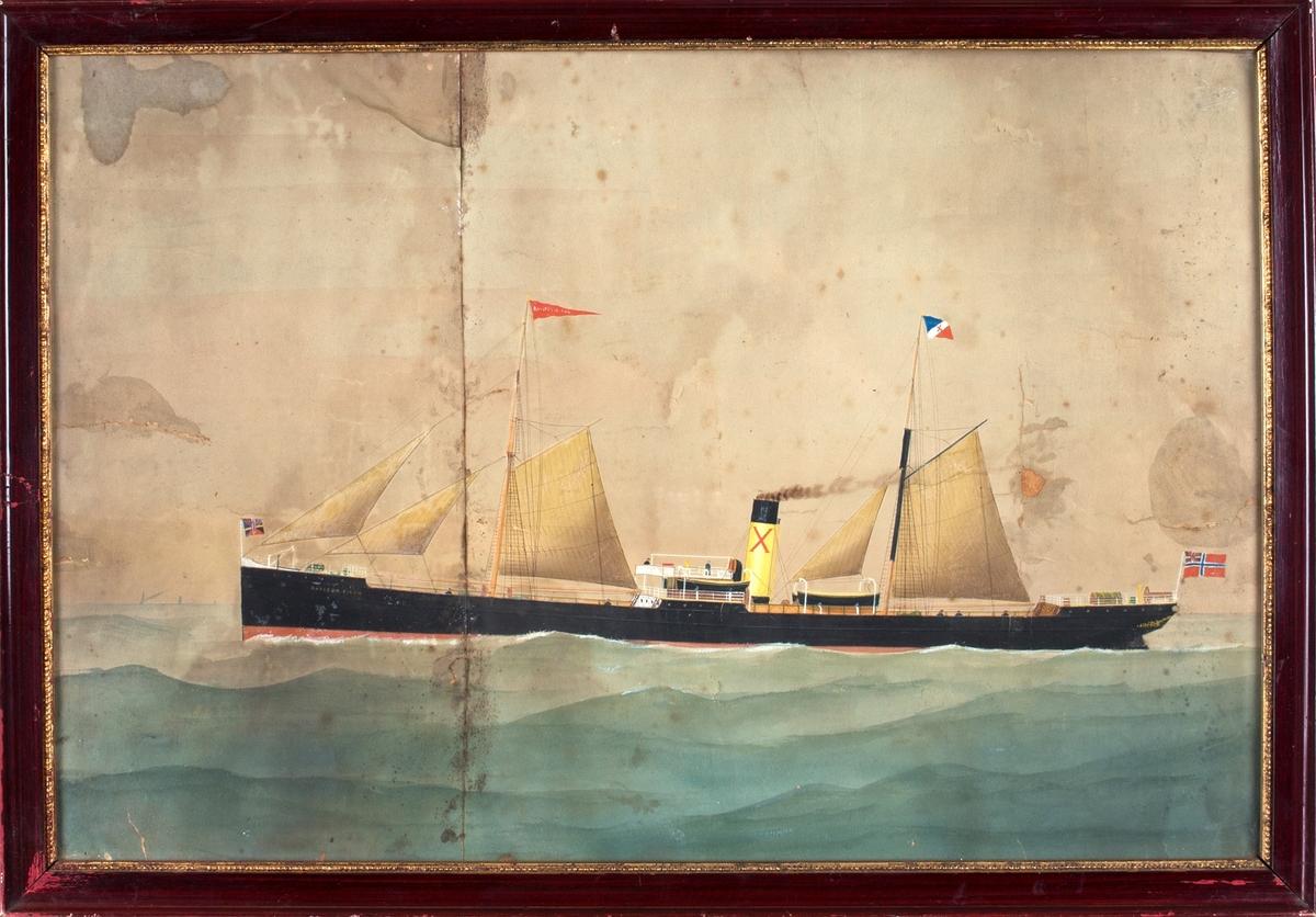 Skipsportrett av DS RAYLON DIXON under fart med seilføring. I bakre mast rederiflagg med X og i fremre mast vimpel med skipets navn. Skipet fører norsk flagg med unionsmerke i akter.