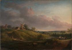 Landskap med kirke og mølle [Maleri]
