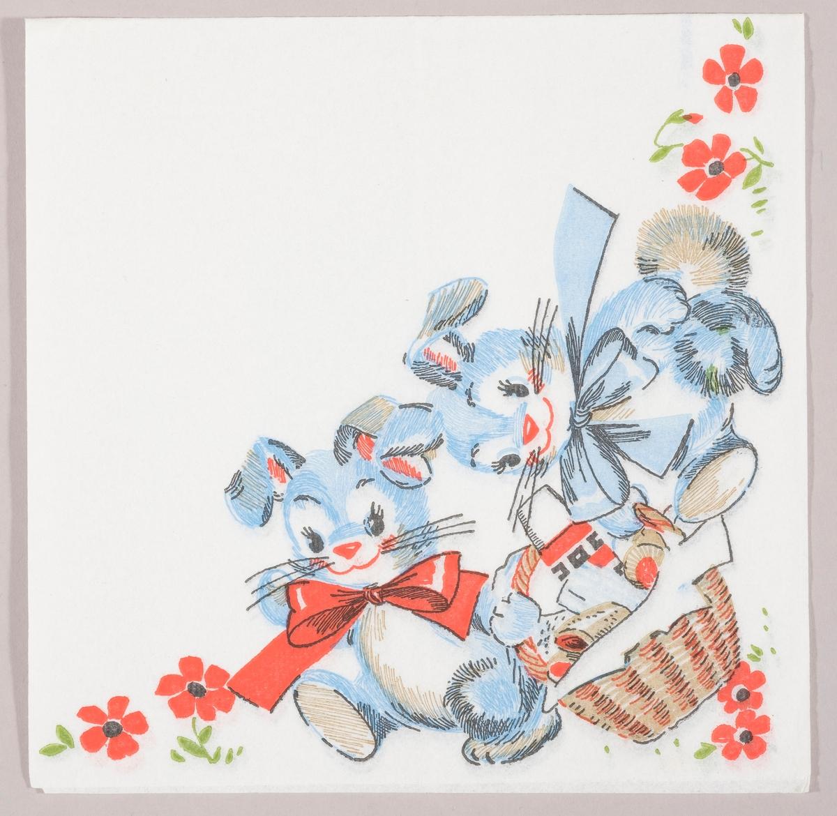 To blå påskeharer med sløyfer om halsen bærer på en flettet piknikkurv i en eng med røde blomster.