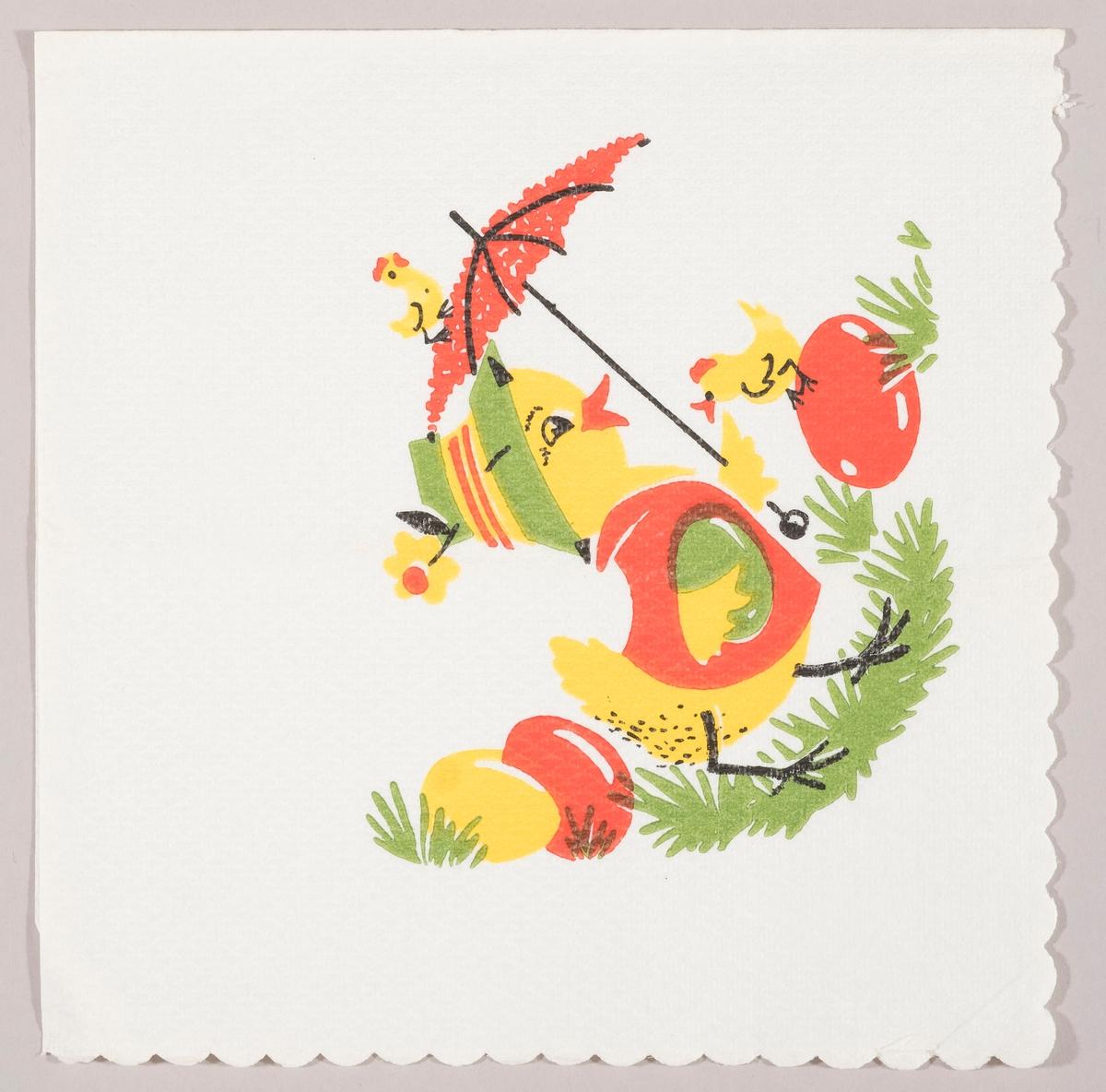 En stor kylling som har hatt og genser går med en parasol og et grønt påskeegg. Kyllingen er omgitt av to små kyllinger, grønt gress og gule og røde påskeegg