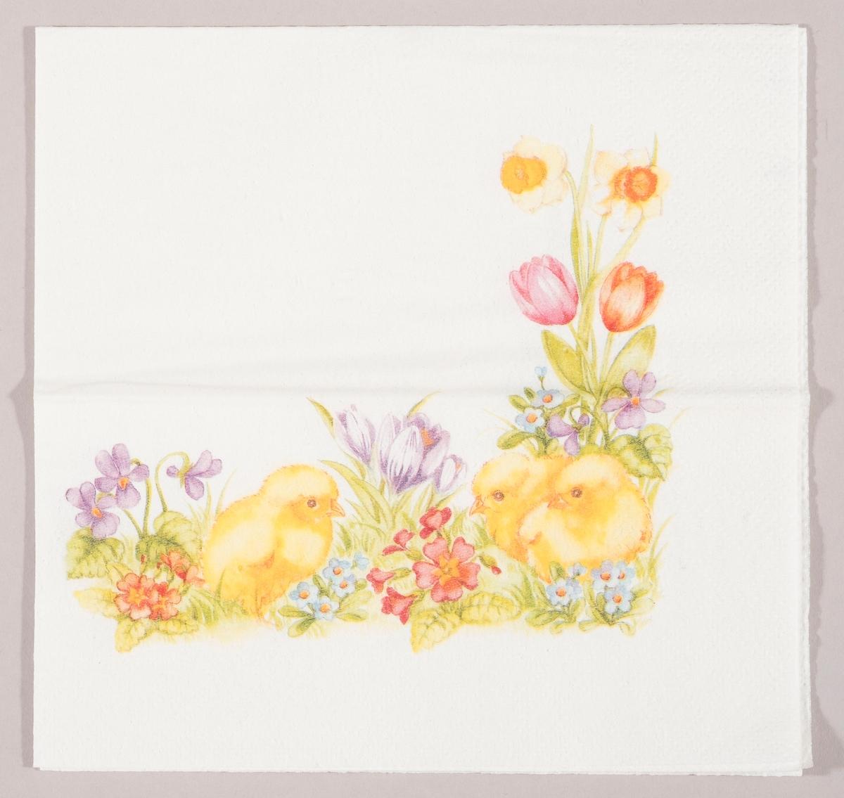 Tre kyllinger i en blomsteeng med påskeliljer, tulipaner og andre vårblomster.