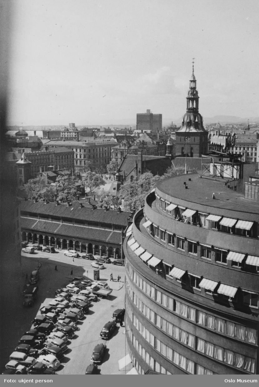 utsikt, parkeringsplass, biler, forretningsgårder, basarer, Vår Frelsers kirke