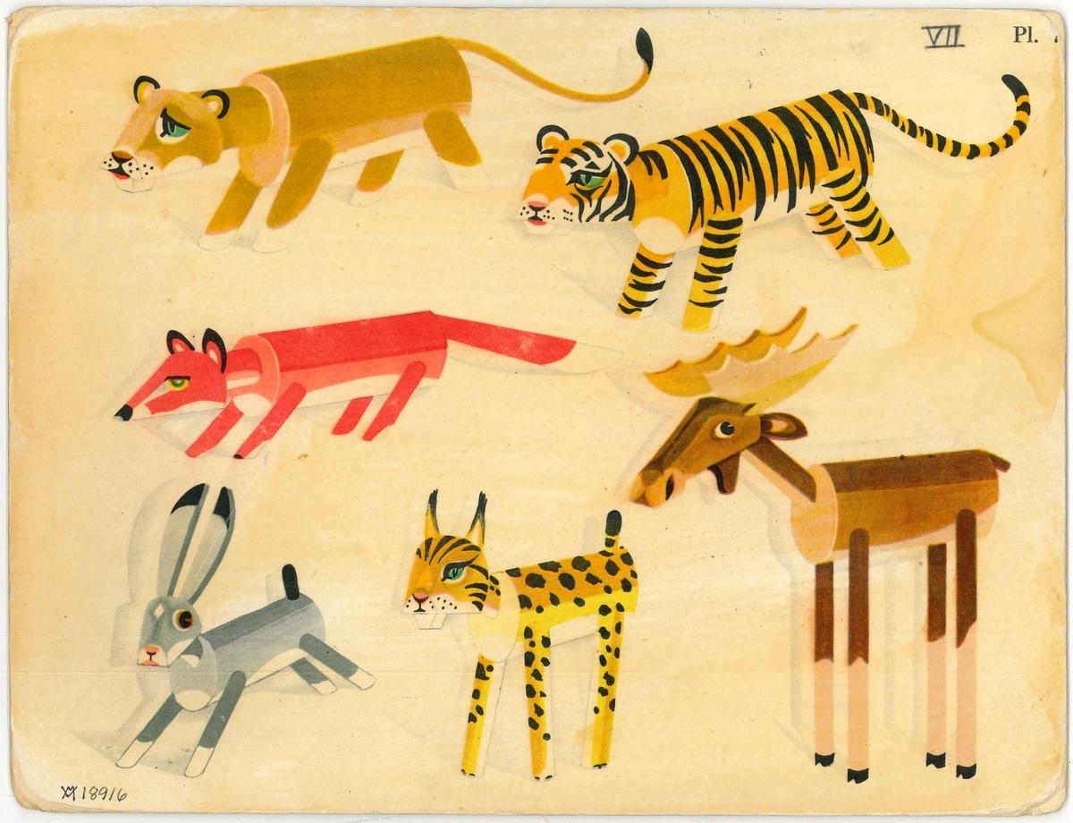 Plansch  med modeller av olika djur, så som ett lejon, en tiger,en  räv, en hare, en gepard och en älg.  Ingår i en samling färglagda planscher på föremål för slöjd (lövsågning). Använda vid slöjdundervisning från Vänersborgs H. Allmänna Läroverks bibliotek.  Vid röjning i källarlokal i Huvudnässkolan tillvaratogs dessa planscher.