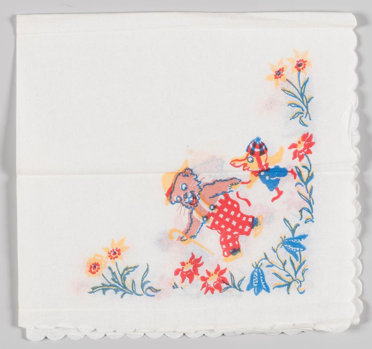 En bamse med rutete bukser, gul hatt og stokk følges med en liten følgesvenn med blå bukse og lue. De to går blant store blomster.