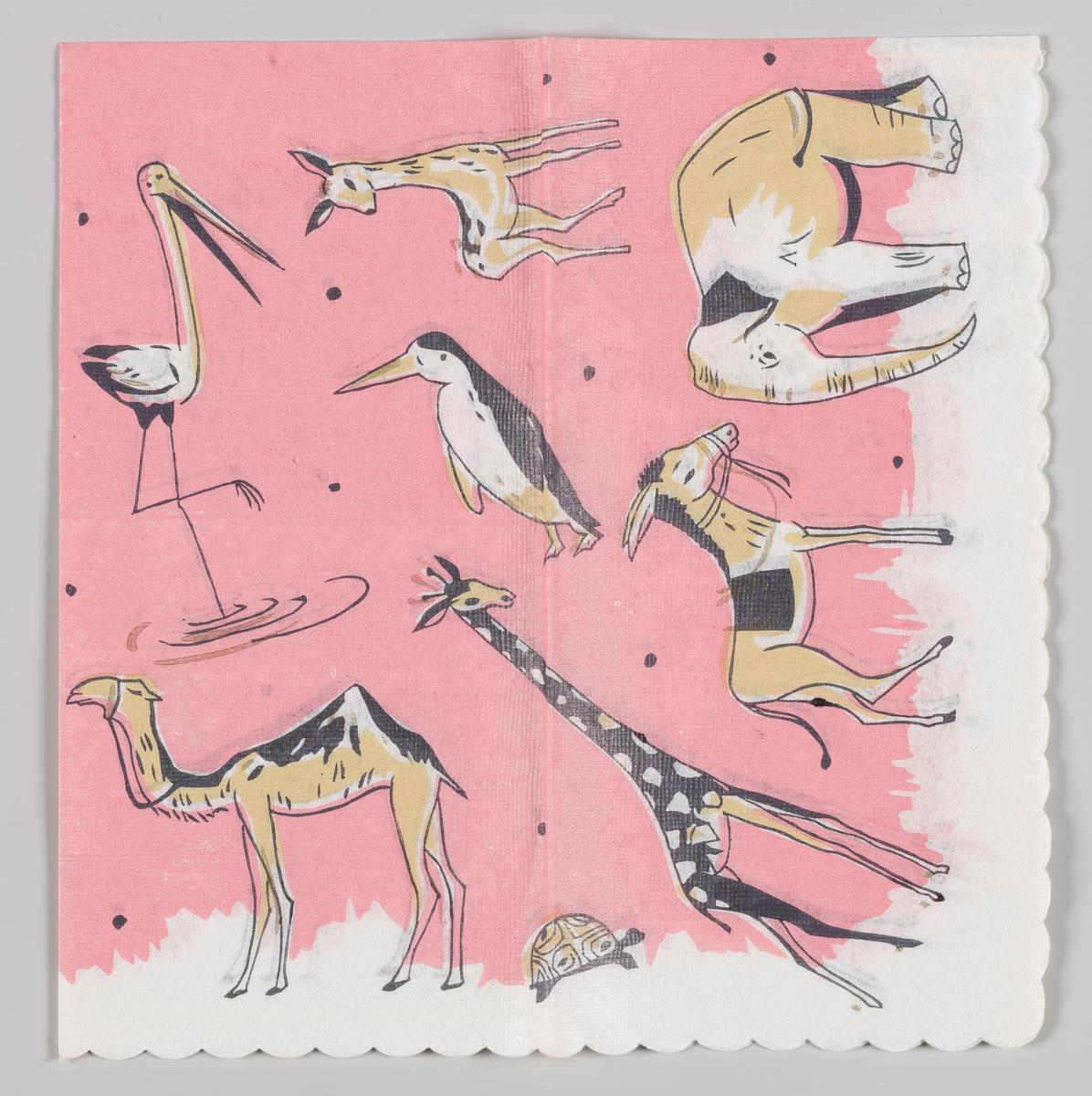 Flere dyr: en trane, en hjort, en pingvin, en kamel, en sjiraff, en skilpadde, et esel, en elefant