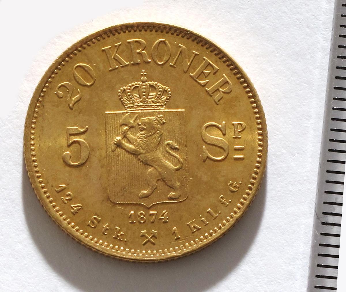 20 kr. mynt av gull.