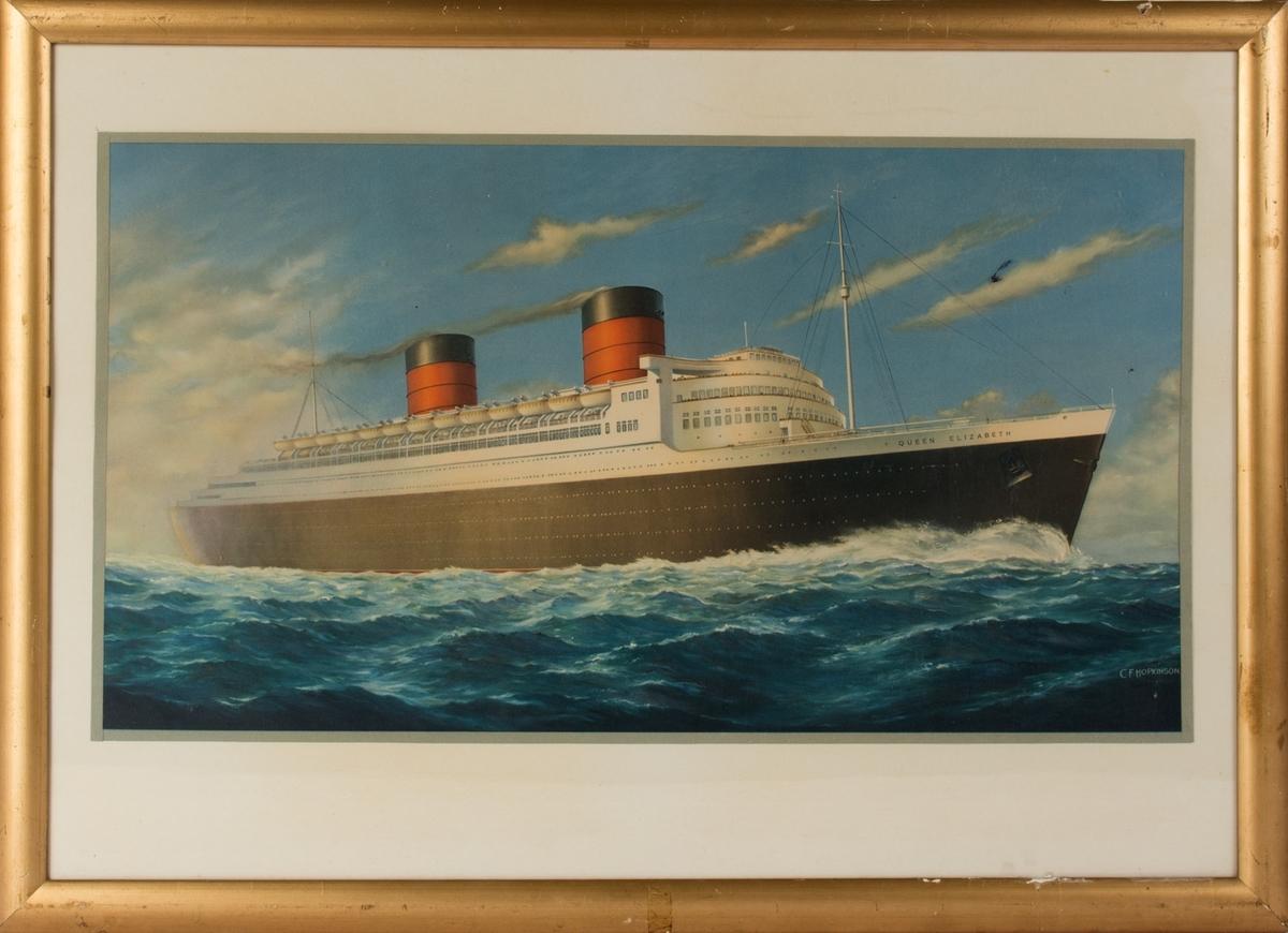 Kopi av maleri av passasjerskipet QUEEN ELIZABETH under fart i åpen sjø.
