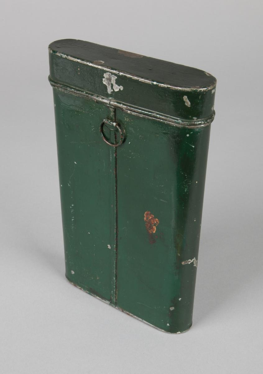 Dokumentboks med lokk. Oppbevaringsboks for skipspapirer. Avlang boks med rundede sider, med tekst på forside.