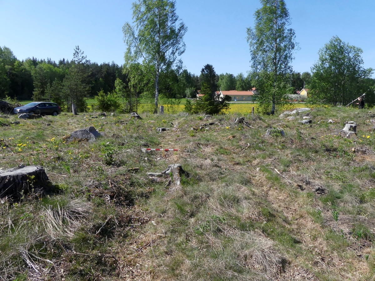 Kartering och dokumentation, översikt av plogspårsskador, gravfält 176:1, Trevlinge, Rasbo socken, Uppland 2018