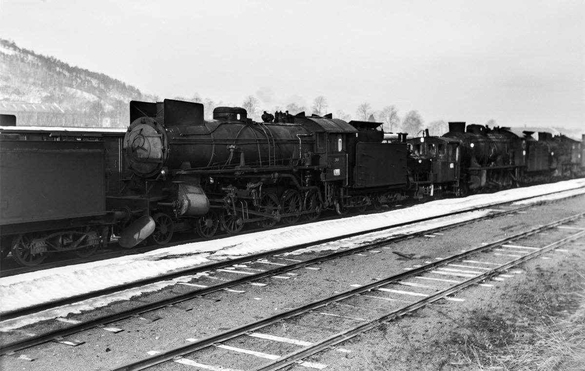 Hensatt damplokomotiv type 31a nr. 284 i Lodalen i Oslo.