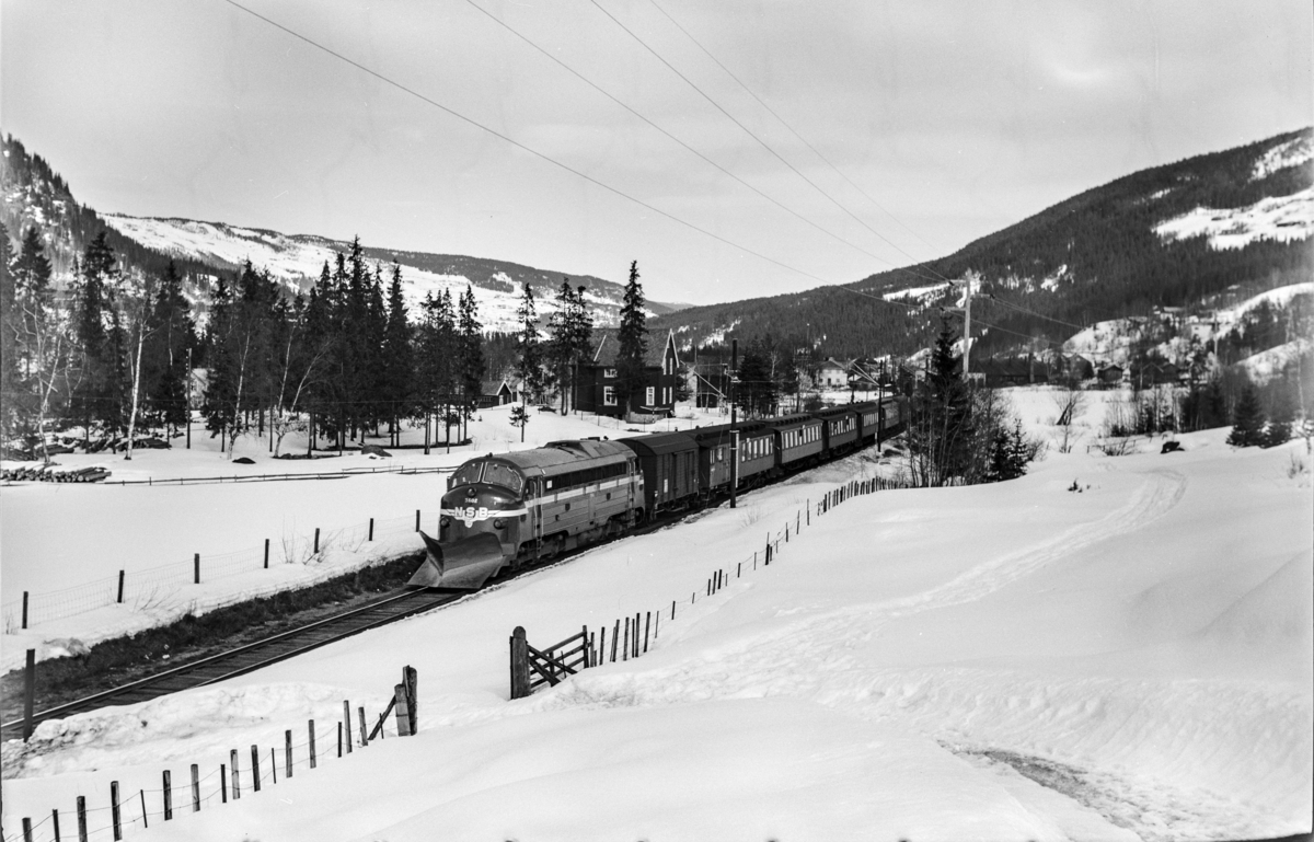 Ekstratog fra Oslo Ø i forbindelse med påskeutfarten, tog 7609, kjører ut fra Ål stasjon. Toget trekkes av diesellokomotiv type Di 3 nr. 602.