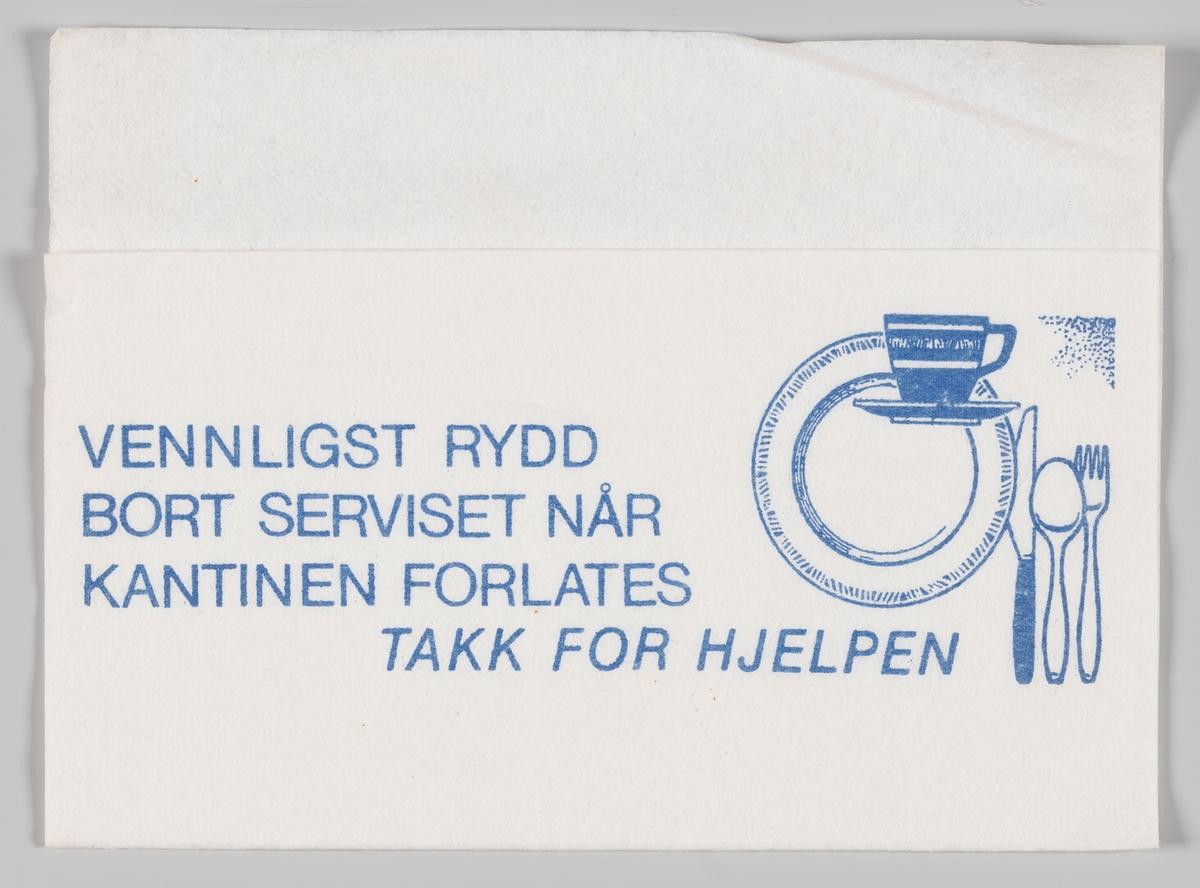 Tallerken, kopp og bestikk og en tekst som takker for opprydding i kantinen (ukjent).  Samme motiv og tekst på serviett MIA.00007-004-0025.