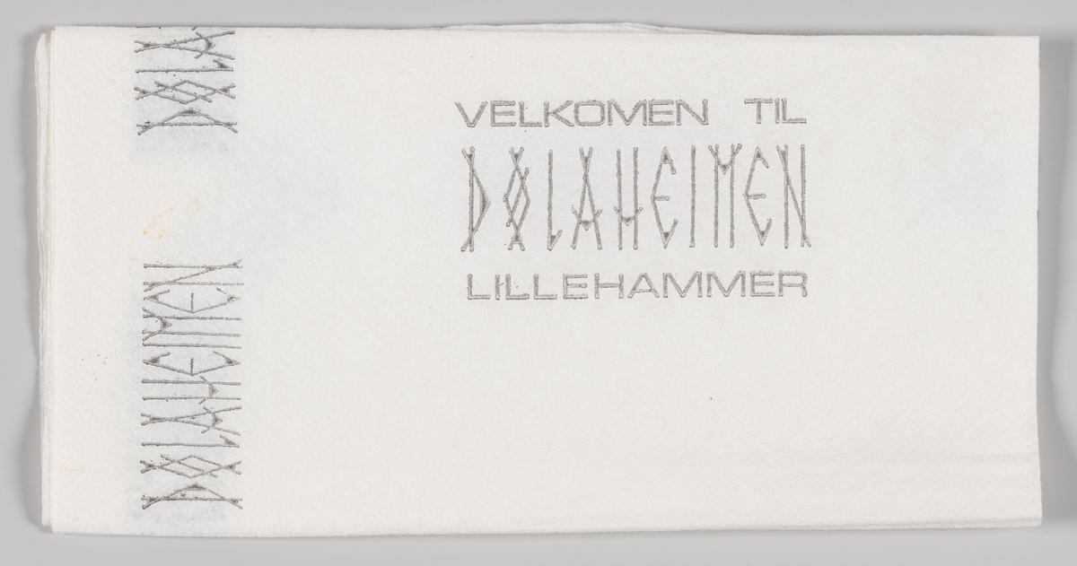 En reklametekst ofr Dølaheimen kafeteria og hotell på Lillehammer.  Samme tekst på MIA.00007-004-140.