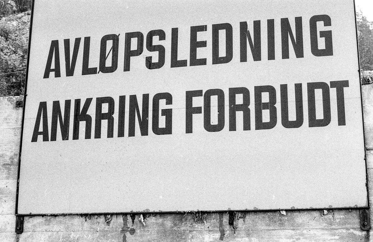 """Strandkant i Bunnefjorden med svaberg, småstein, blåskjell og trestokker. Skilt med """"Avløpsledning. Ankring forbudt"""" Fotograf: ØB Svalastog"""
