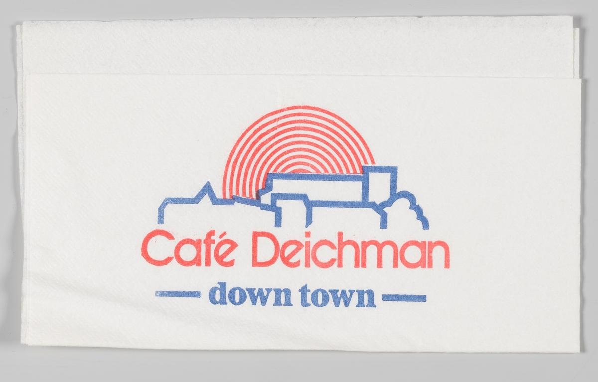 En kokkehatt og reklametekst for Telemark catering og byen tak i solnednngen og en reklametekst for Cafè Deichman.